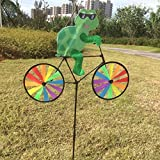 Arich Bike Spinner -Cute 3D Animal on Bike Windmill Wind Spinner Whirligig Garden Lawn Yard Decor Tortoise
