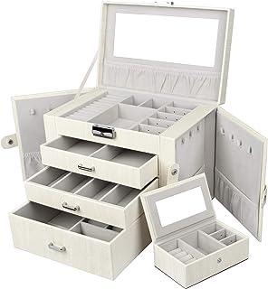Yorbay Caja Joyero con Espejo y Cajones, Caja para Joyas,