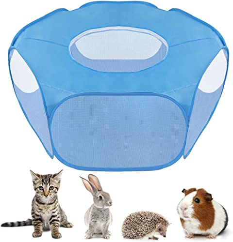 SlowTon Small Animal Playpen, Foldable Pet Cage with Top Cover Anti Escape, Breathable Transparent Indoor/Outdoor Use...