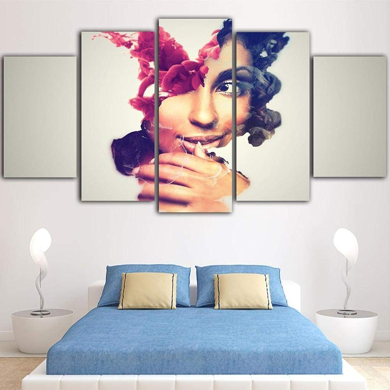 涙が出る千速記Ssckll 5ピース美容アートポスターキャンバスHd壁アートキャンバス画像抽象的な装飾サロン-フレーム