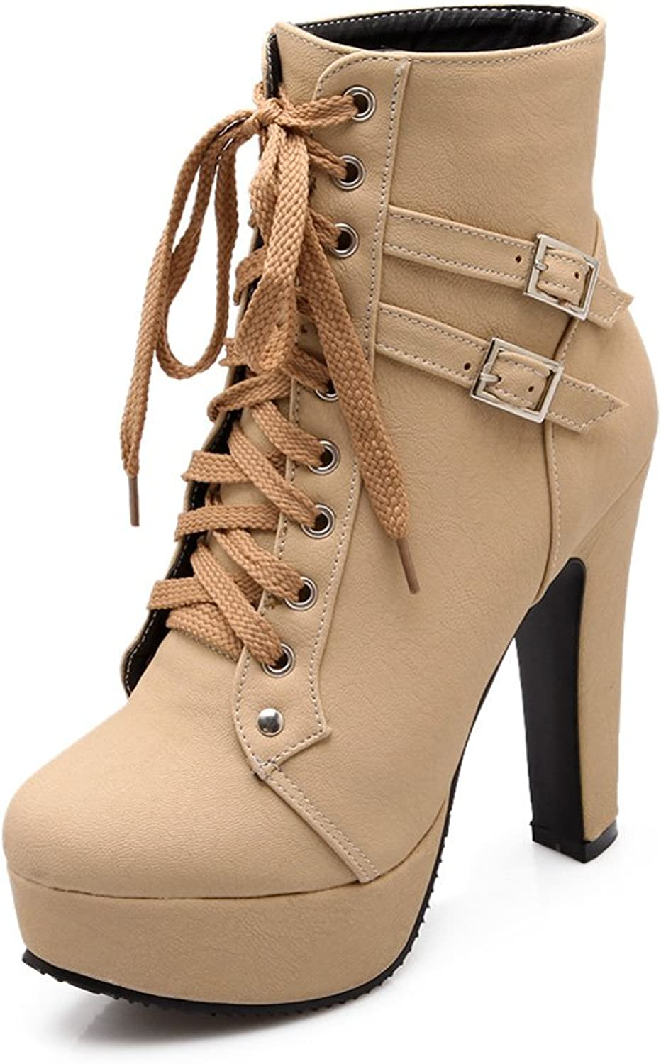Lucksender Womens Fashion Round Toe High Chunky Heel Lace Up Martin Boots with Buckles Ornament