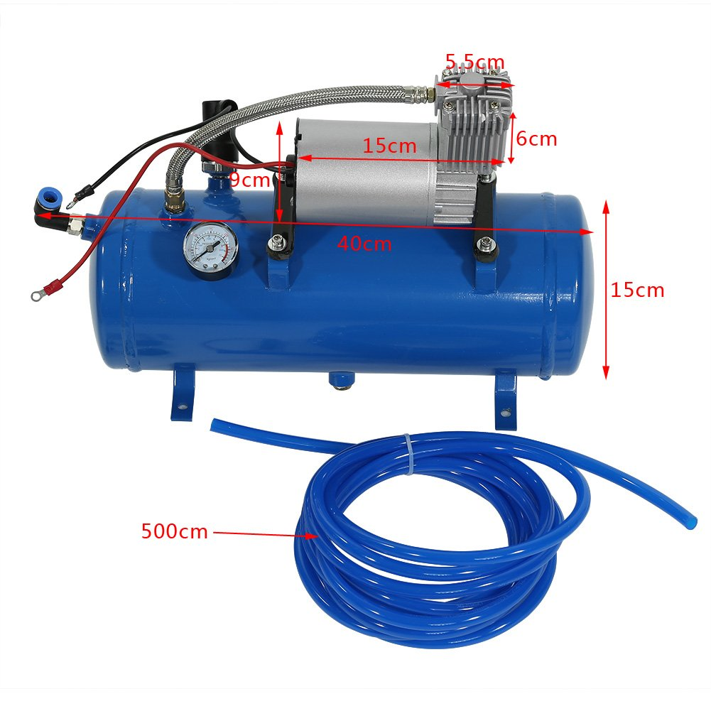 Inflador del Neum/ático del Compresor de Aire de 150psi 12V con la Bomba del Inflador de 6 litros para el Neum/ático del Remolque del Cami/ón del Tren Zerone Bomba del Compresor de Aire