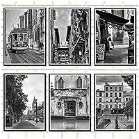Muzimuzili黒と白のヨーロッパの都市写真壁アートキャンバスロンドンパリポスタープリント北欧の絵画リビングルームの写真-13X18Cmx6Pcsフレームなし