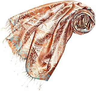 Scarf Pashmina 100% Pure Silk 29 X 75 Inches Paisley - 78003