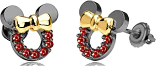 Gemstar Jewellery 18K Black & Yellow Gold Plated Round Red Garnet Minnie Mouse Icon Stud Earrings