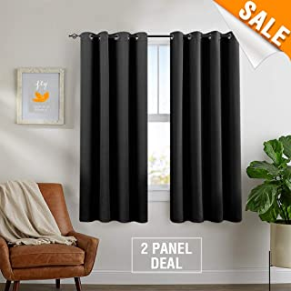 Blackout Thermal Insulated Curtains for Living Room Triple Weave Grommet Curtain Panels for Bedroom 1 Pair 63