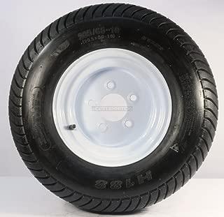 Trailer Tire On Rim 20.5 8 10 205/65-10 20.5X8.0-10 5 Lug Range E White Wheel