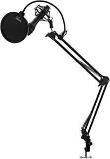 Audio-Technica AT2005USB Dynamic Handheld USB/XLR Microphone with Knox Gear Pop Filter, Boom Scissor Arm and Shock Mount