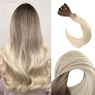 Full Shine 18 inch 10 Pcs Dark Roots Clip In Hair Extensions Ombre Pastel Hair Color #7B Fading to #613 Blonde Balayage Clip in Straight Hair Extensions 100gram