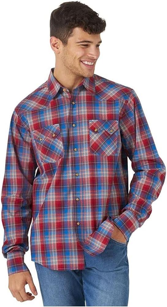 Wrangler Men's Retro Large Plaid Long Sleeve Snap Western Shirt Red X-Large Tall