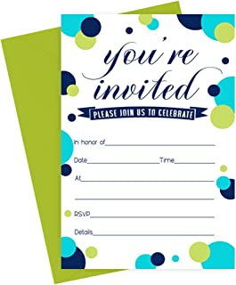 Navy Dot Party Invitations with Lime Envelopes (Pack of 15) Baby Shower, Gender Reveal, Boys Birthday, Graduation Colorful Fill-in Style Invites All Occasions