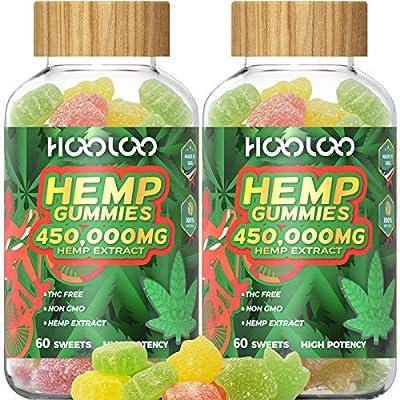 2 Pack Hemp Gummies, HOOLOO 450,000MG Fruity He...