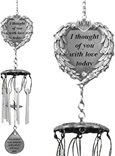 BANBERRY DESIGNS Memorial Windchimes for Mom - Pewter Heart Shaped Angel Wings Loving Sympathy Poem I Thought of You with Love Today - Garden Chimes Loss of a Mother