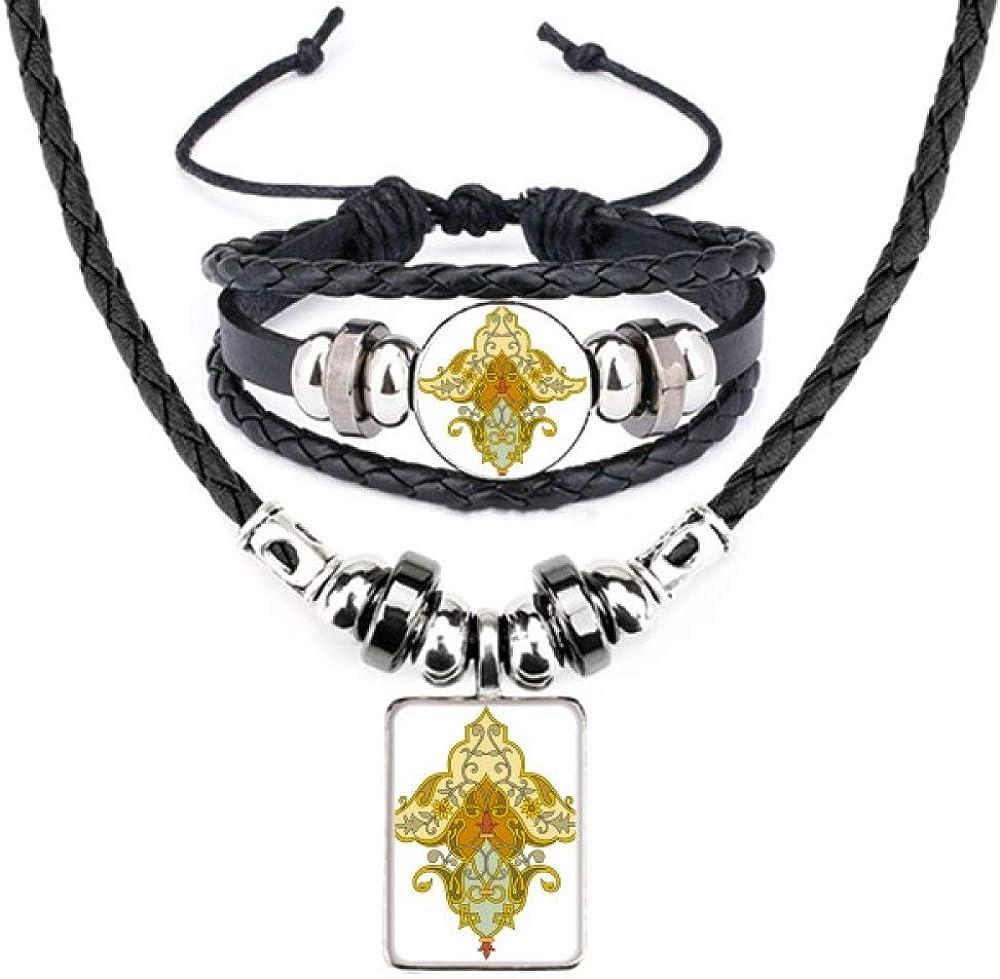 Modern Flower Parallel Baroque Pattern Leather Necklace Bracelet Jewelry Set