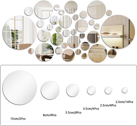 Foccts 36 Pz Decorazione Per Parete Adesivo Da Parete A Specchio Fogli Autoadesivi Cerchio Rotondo Specchi Per La Decorazione Domestica Con 6 Diverse Dimensioni Amazon It Casa E Cucina