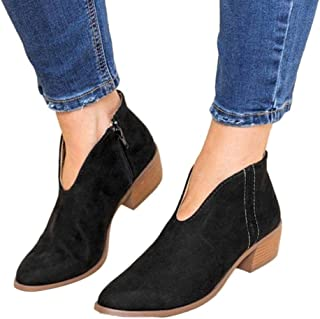 Women Low Heel Ankle Booties Slip On Suede Chunky Block Round Toe Ankle Boots by Lowprofile