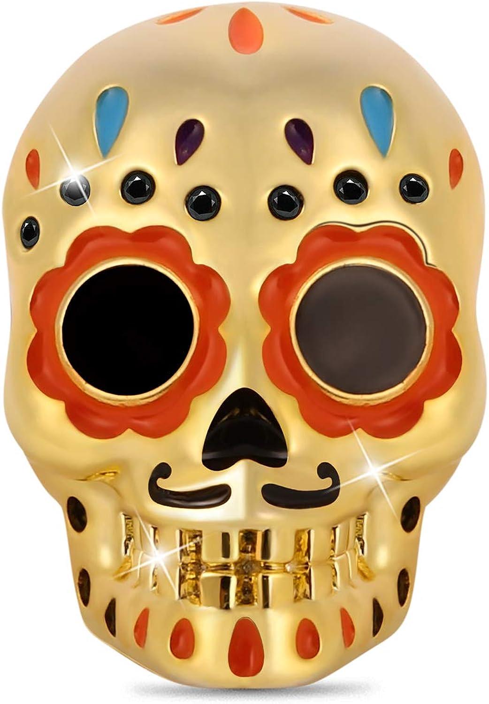 GNOCE Sugar Skull Charm Bead Sterling Palted 当店は最高な サービスを提供します 18k Cha 高級 Silver Gold