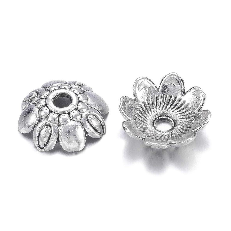 Pandahall 100pcs 9mm Tibetan Filigree Flower Alloy Spacer Bead Caps Antique Silver Lead Free &Cadmium Free Antique Mini Metal End Caps for Jewelry Making