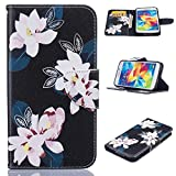 Galaxy S5 Case, Firefish Kickstand Flip Folio Synthetic Leather Wallet [Shock Absorption] [Scratch Proof] Magnetic Closure Case for Samsung Galaxy S5 -Flower-A