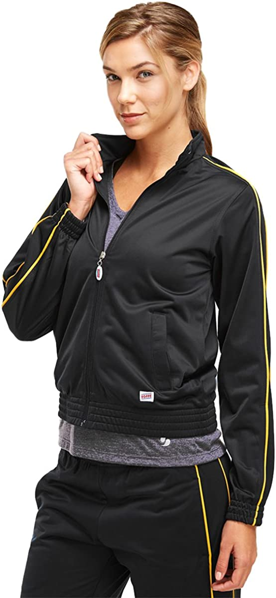 Soffe Girl's Warm-Up Jacket, Black/Gold, Small