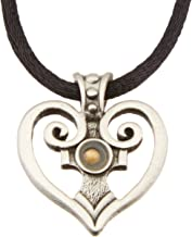 Cathedral Art Heart Pendant with Mustard Seed, Includes 22-Inch Black Satin Cord