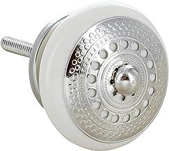 G Decor Zilver Applique l ronde keramische deurknoppen handgrepen (crème)