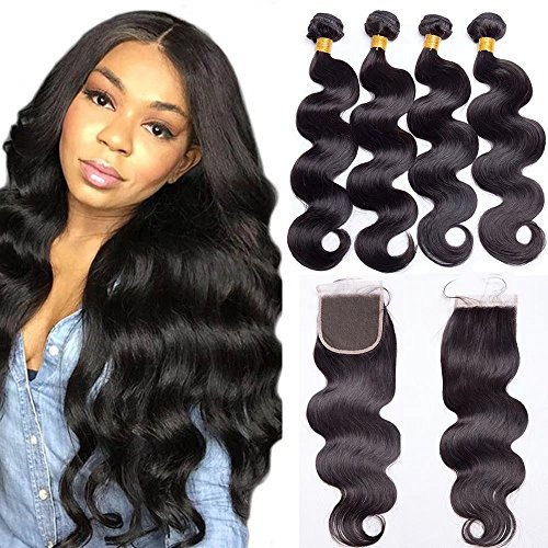 Maxine Brazilian Virgin Remy Hair Body Wave With Lace Closure 3 Bundles With 4x4 Free Part Closure 100% Unprocessed 9a Human Hair Extensions Natural Color(12 14 16 With 10)