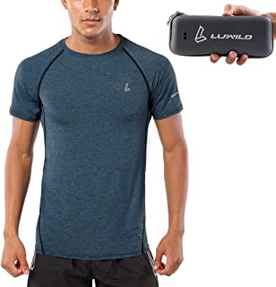 LUWILD Men's Dri Fit Athletic Shirts Cool Dry Short Sleeve T-Shirt with Portable Case