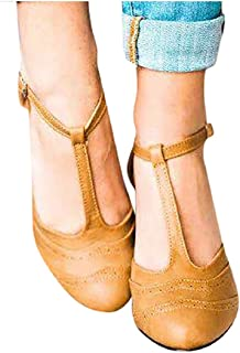 Lowprofile Sandals Women T Strap Sandals Chunky High Heels Contrast Pumps Shoes by Lowprofile