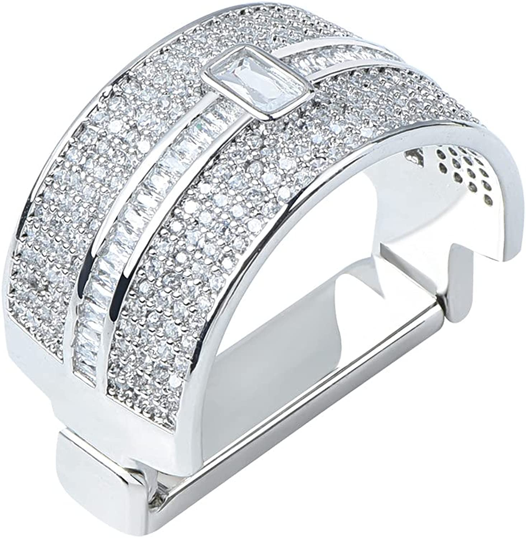 VVCome Men's Micro Pave Cubic Zirconia Tie Clips Tie Holder Crystal Necktie Ring Tie Tacks Accessories for Wedding Business