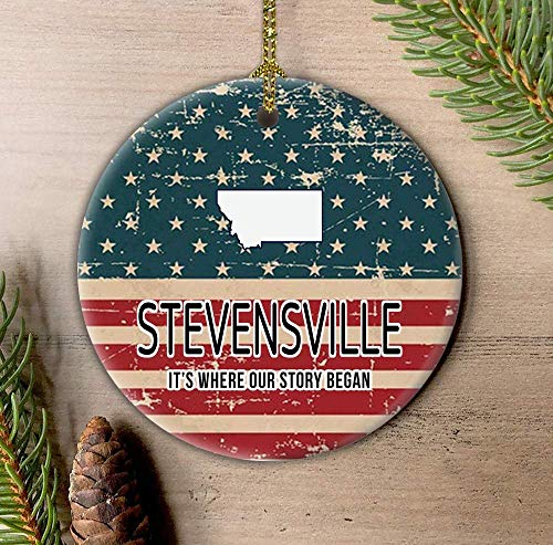 Lplpol Stevensville Montana It's Where Our Story Bega American Flag Patriótico Ornamento, 4 de julio Día de la Independencia Colgante de árbol de 3 pulgadas de cerámica adorno colgante HAW117