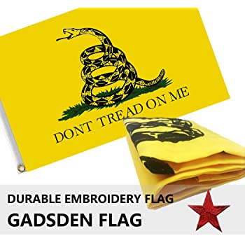 3x5 Gadsden Dont Tread on Me Rough Tex Double Sided Nylon Sleeve Flag 3/'x5/'