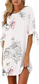Women's Loose Floral Sundress Print Half Sleeve Bow Bandage Straight Short Dress Zulmaliu