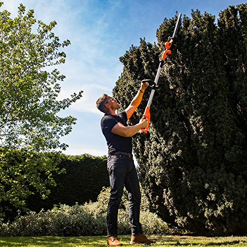 Yard Force 20V Cordless Pole Hedge Trimmer - extendable, with Adjustable Head, 41cm Cutting Length, Lithium-ion battery & charger LH C41A