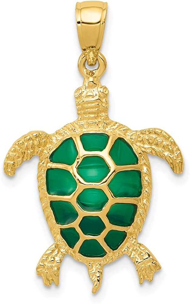 14k Yellow Gold Green Enameled Sea Turtle Pendant Charm Necklace Animal Fish Life Fine Jewelry For Women Gifts For Her
