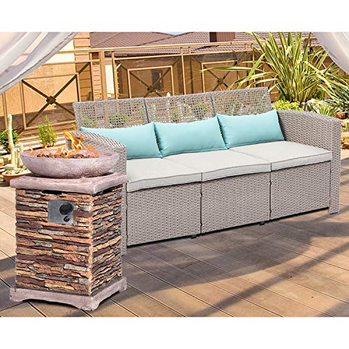 %20 OFF! HOMPUS Outdoor Pation Furniture 2-Piece Wicker Bench Armchair w 20-inch Square Propane Fire...