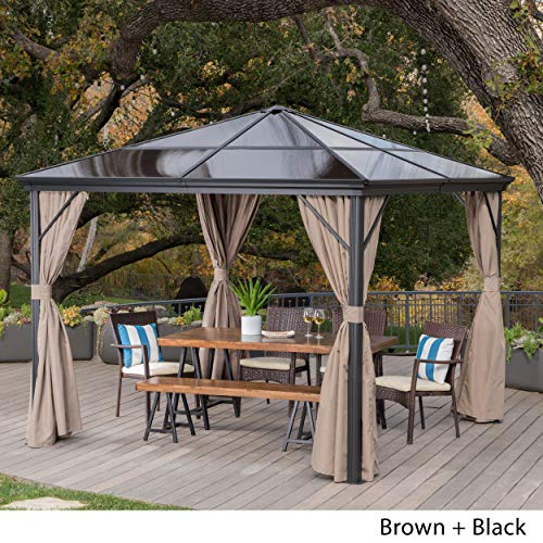 Christopher Knight Home 303378 Bali Outdoor 10 x 10 Foot Rust Proof Aluminum Framed Hardtop Gazebo w, Brown + Black