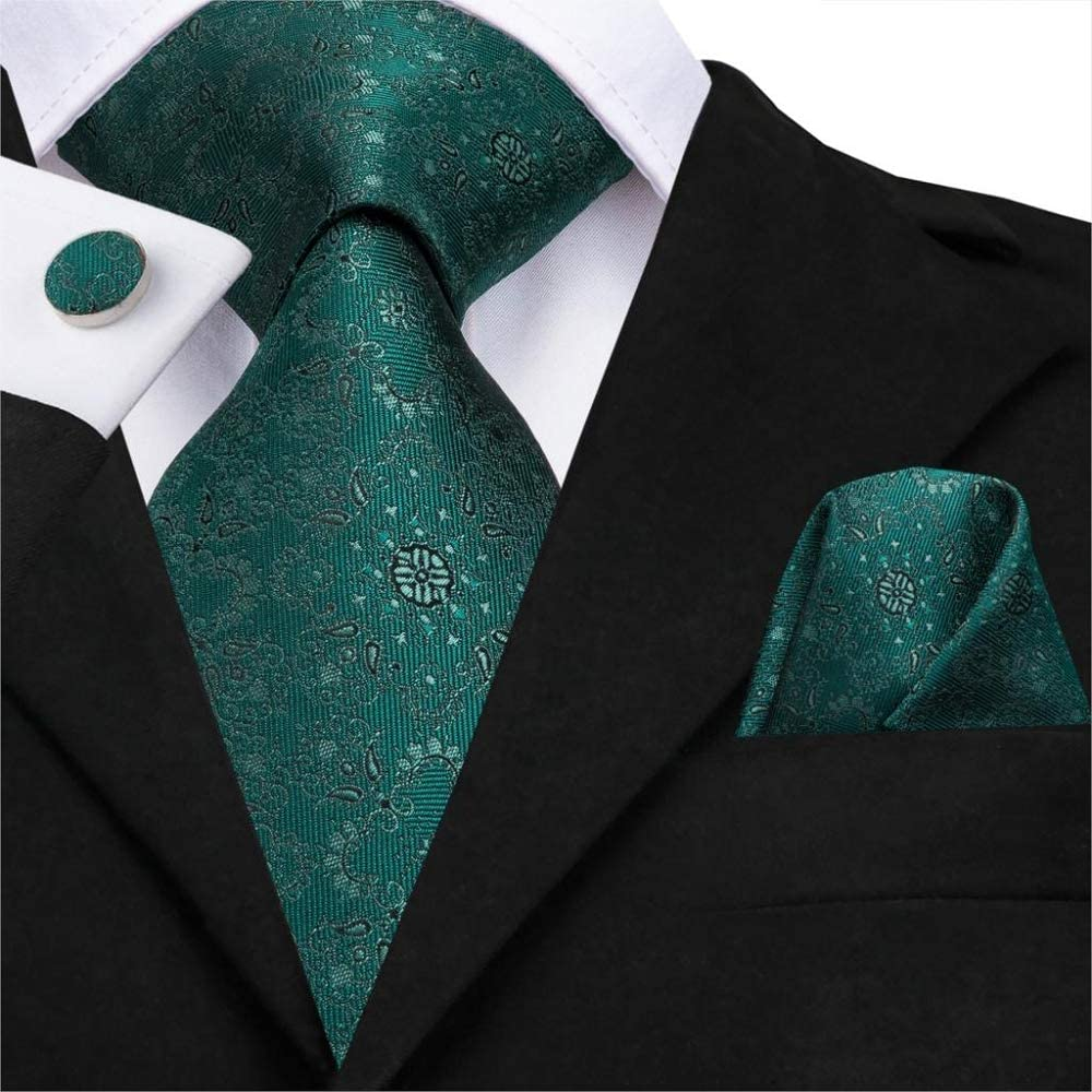 ZXCVBN Silk Wedding Ties Floral Mens Green Tie Necktie Pocket Square Cufflinks Set Classic Party Business Tie Set