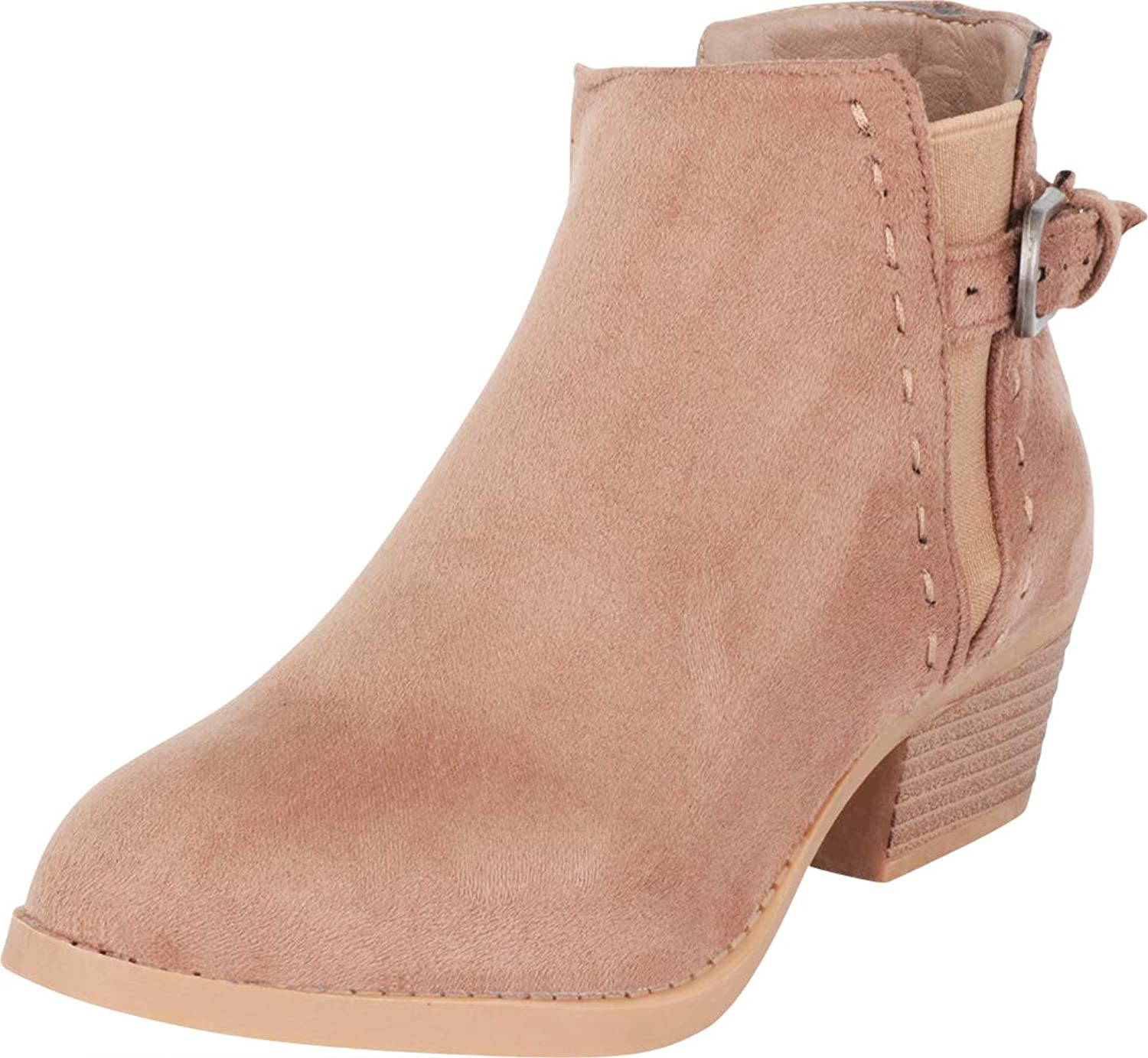 Cambridge Select Women's Side V Cutout Chelsea Stretch Low Stacked Heel Ankle Bootie