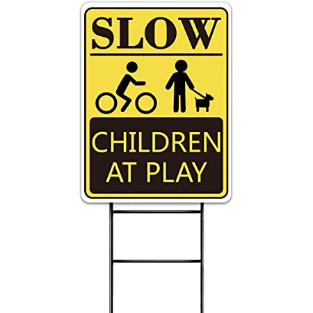 Details about  /SLOW CHILDREN AT PLAY RED Yard Sign Road with Stand LAWN SIGN