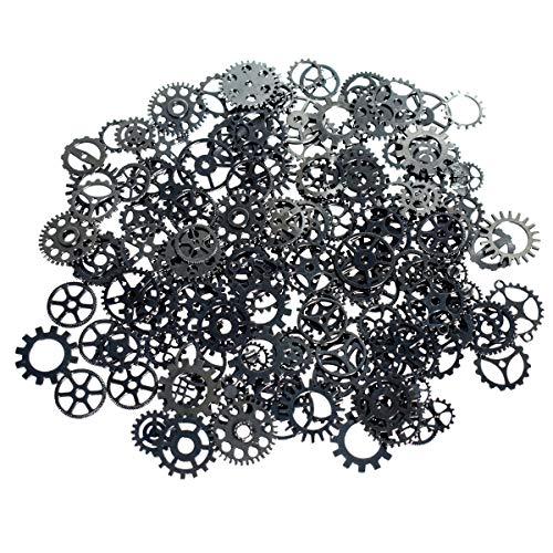 XONOR Verschiedene antike Steampunk Gears Charms Anhänger Uhr Rad für Handwerk, gemischte Farben (schwarz - 100Gramm)