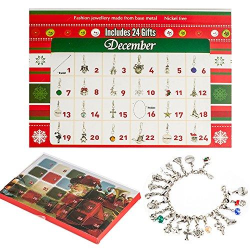 ZHUOFU Calendario dell'Avvento 2020 - Fai da Te Collana Bracciale con 22 Charms Moda Gioielli Conto alla rovescia Calendario dell'avvento per i Bambini Regali a Tema Natalizio