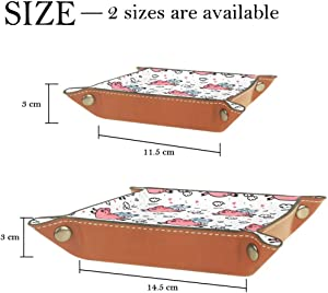 Pink Pigs Valet Tray Storage Organizer Box Coin Tray Key Tray Nightstand Desk Microfiber Leather Pouch,16x16cm