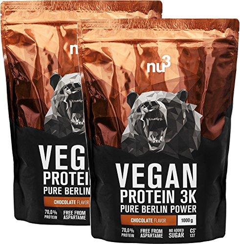 nu3 Vegan Protein 3K Shake - 2 Kg Chocolate Blend - veganes Proteinpulver aus 3 Komponenten Protein mit 70% Eiweiß - Pulver mit leckerem Schokoladen Geschmack - Laktosefrei