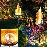 Solarleuchte Außenleuchten Steckleuchte Gartendeko, LED-Licht, IP44, Flammen-Effekt, H 93CM, 2er Set