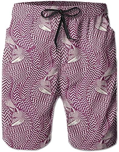 BONRI Pantalones Cortos de Playa con diseño de Aguacate Rosa para Hombre, con Bolsillos, líneas rotas étnicas, Lobo, M