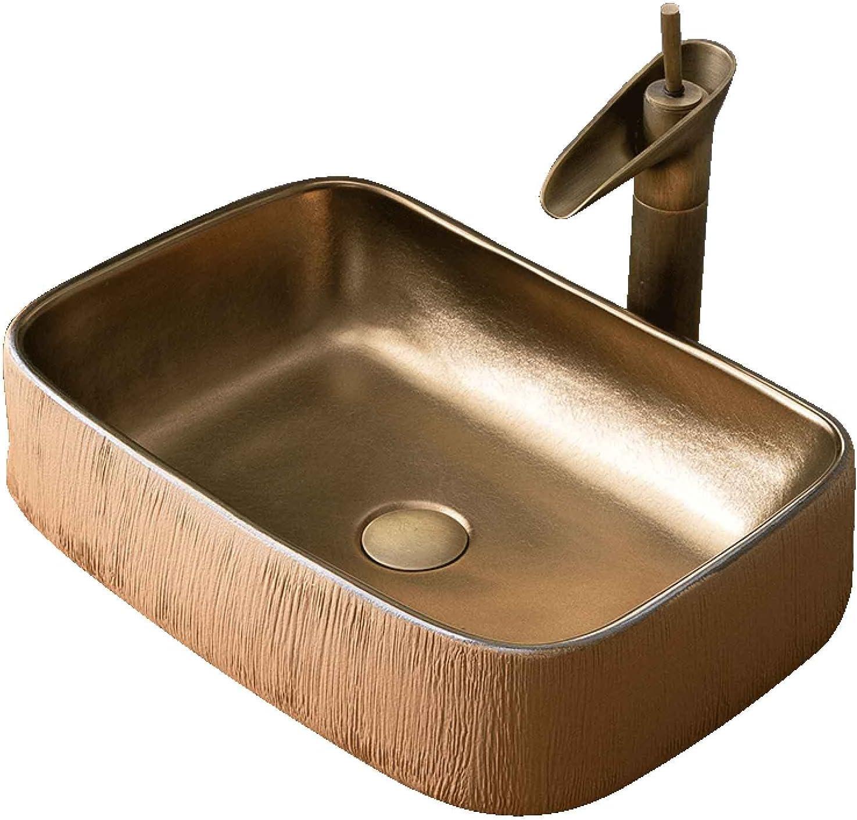 Lavabo sobre encimera baño rectangular dorado, lavamanos sobre encimera cerámica estilo industrial retro para guardarropa,pica baño textura tallada man(Size:Juego de accesorios para lavabo + grifería)
