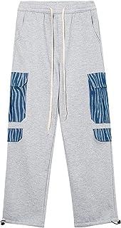 Męskie bawełniane spodnie, zagęścić, utrzymywać ciepłe męskie spodnie z prostymi nogawkami z polarem wewnątrz, duże luźne ...