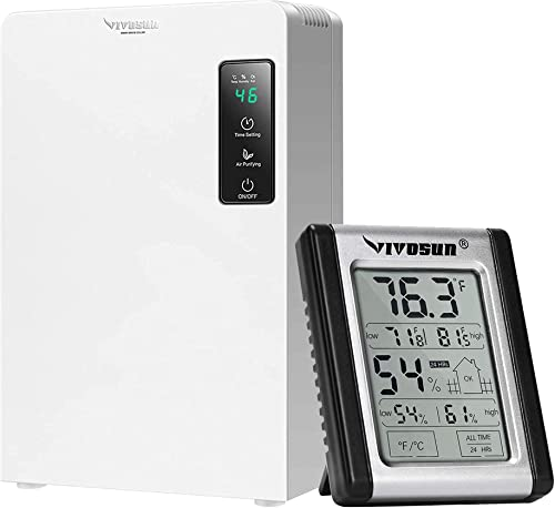 discount VIVOSUN Electric Mini Auto wholesale Defrost Dehumidifier, 2200ML Water Tank & Digital Indoor Thermometer and Hygrometer with Humidity new arrival Gauge outlet sale