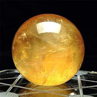 GONGting Natural Citrine Calcite Quartz Crystal Sphere Citrine Ball Healing Gemstone 1.57